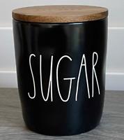 Rae Dunn SUGAR Black Cellar With Wood Lid--Brand New!