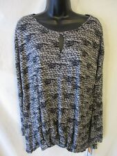 Daisy Fuentes Rayon Size L Black Geometric 3/4 Slve Knit Top SR$44 NEW