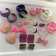Lot Of 14 Women's Costume Earrings Variety Purple, Pink, Etc
