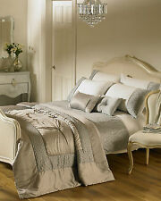 Romantica Embellished Satin Luxury Cuff Double Duvet Cover Set Silver