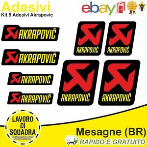 KIT 8 Adesivi Akrapovic Moto universali Sticker Decal Decalcomania marmitta Ital
