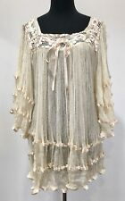 SML Vtg 70s Ivory Cotton Gauze Top Blouse Hippie Angel Sleeve Crochet