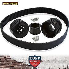 Ford 289 302 351 Windsor V8 Aeroflow Black Billet Gilmer Drive Kit with Belt New