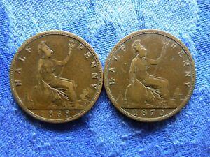 UK 1/2 PENNY 1868, 1870, KM748.2