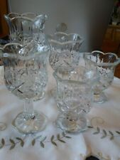 5 Homco Home Interiors Clear Glass Diamond Pattern Footed Votive Candle Holders