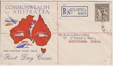 (KU18) 1949 AU FDC 1/6d black Hermes commonwealth of AU registered cover