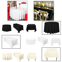 POLYESTER White Black Ivory TABLECLOTH Reusable Home Decor Banquet Party Event