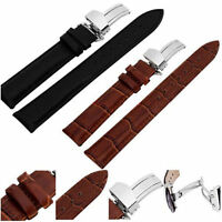 Genuine Leather Watch Strap Band Stainless Steel Butterfly Buckle 16  20 22 24mm