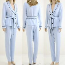 Lavish Alice Pyjama Style Double Breasted Tie Belt Shirt with Slim Trousers
