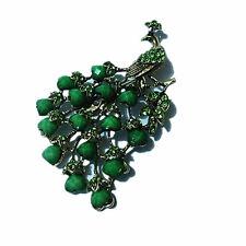 Vintage Bronze & Green Peacock Brooch Pin BR201