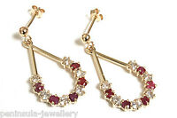 9ct Gold Ruby drop Dangly Earrings Gift Boxed Christmas Gift Made in UK