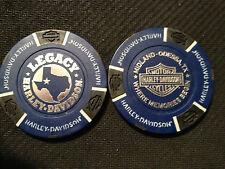 "Harley Davidson Poker Chip (Blue & Black) ""Legacy H-D"" Midland-Odessa, Texas"