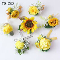 Wedding Corsage Bridesmaid Bracelet Flower Yellow  Peony Boutonniere Marriage