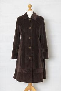 M&S Per Una UK 14 Brown Corduroy A Line Longline Jacket Coat