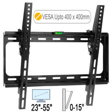 "TV Wall Mount Bracket 23 - 55"" Tilt 15° VESA 200 - 400mm Plasma LCD LED FLAT UK"