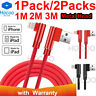 For iPhone 6 7 8 Plus X Braided 90 Degree Lightning Cable USB Data Charger Cord