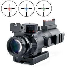 Tactical 4X32 Prismatic Scope w/ Fiber Optic Sight Tri-illuminated BDC for Rifle