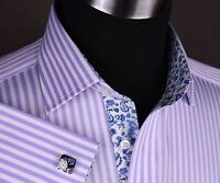 Lilac Herringbone Stripe Formal Business Dress Shirt White Paisley or Money Boss