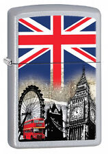 Zippo 60001628 Satin Chrome London UK - Lighter - Petrol Windproof - Gift Box
