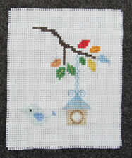 CROSS STITCH piece BLUE bird LEAVES nest FEED box COLOUR craft HAND made ART