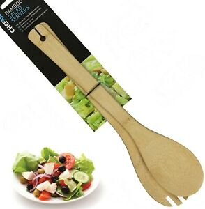 Natural Bamboo Salad Servers Fork Spoon Tosser BBQ Tongs Picnic Pasta Kitchen