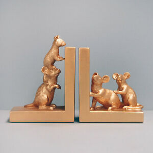 Gold Mouse Bookends - White Moose Designs - Resin Mice Book Ends