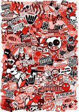 A4 Size JDM Style RED Tint Vinyl Sticker Bomb Sheet Drift Ratlook UK Made