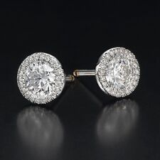 2 1/3 CARAT SOLITAIRE ENHANCED DIAMOND STUD EARRINGS ROUND H/VS2 14K WHITE GOLD