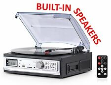 USED Exuby Record Player with Built-In Speakers and Cassette Player