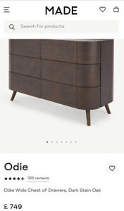Odie Wide Made.com Odie Wide Chest of Drawers Dark Stain Oak RRP £749