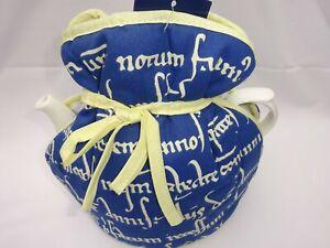 Muff / Open Top Tea Cosy British Made Dark Blue & Lemon.  Lovely new design