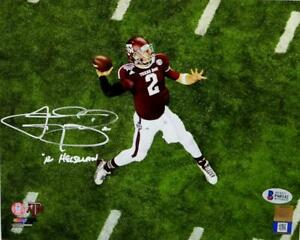 Johnny Manziel Autographed Texas A&M 8x10 Aerial Passing PF Photo- Beckett Auth