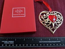 New in Box Lenox Ornament Christmas Bejeweled Heart Silver Plate Red Crystal
