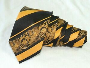 "Paul Malone MEN'S TIE BLACK & GOLD/PAISLEY 3.2/8"" 60"" CHINA"
