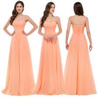 Womens Sexy Orange Chiffon Bridesmaid Long Prom Dress Evening Party 6-10-18-20