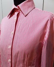 Immaculate Size 8 Rhodes & Beckett White & Pink Cotton Women's Blouse- 48cm Bust