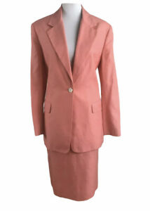 TALBOTS Women 2 PC Vintage Linen Blend  Light Pink Skirt Suit Size 12