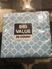 Unique Powder Blue Paper Beverage Napkins Quatrefoil 30 Ct. (2 Ply) 5�x5�