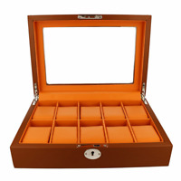 Premium Watch Box For Men Brown and Orange Fits 10 Watches RRP £90