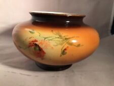 "Warwick China IOGA Semi Porcelain Red Poppies 4.5"" Round Bowl Vase 1887-1951 A6"