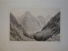LITHO ORIGINALE VICTOR PETIT PAYSAGE GABAS PYRENEES MONTAGNE EAUX CHAUDES 1860