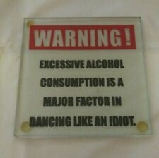 Alcohol Warning Glass Drink Coasters - Set of 6 - Barware - Cocktail - Humor