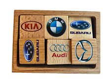 Wooden Memory Matching Game in a Wooden Box, Auto Logos