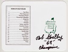 BOB GOALBY Signed Autographed Masters Scorecard w/ 1968 Insc, Augusta National