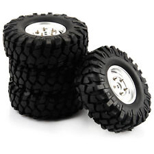 4PCS Silver RC 108mm Tires Tyre and Aluminum Wheels for 1/10 Climbing Car
