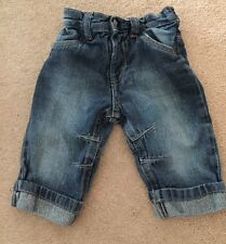 Baby Boys George Jeans Size 3-6 Months Blue Distressed Cute Good Condition