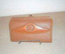 Vintage Dooney & Bourke Saddle Tan Checkbook Awl Leather Kisslock Wallet