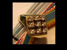 Damen Brillantring in Rautenform mit 9 Diamanten ca. 0,72 Karat, 585er Gelbgold