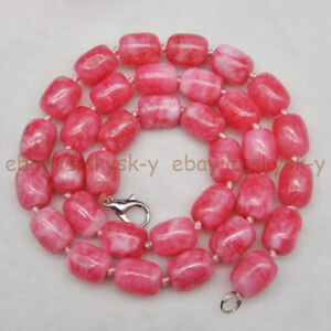 9x11mm Pink Natural Snowflake Jade Cylinder Barrel Gems Beads Necklace 16-50''