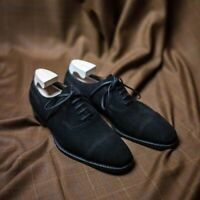 Handmade Men's Black Suede Cap Toe Lace Up Dress/Formal Oxford Shoes